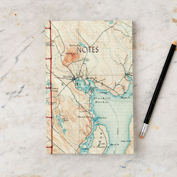 vintage map travel book-desktop - journals-dski design-bar harbor-k colette