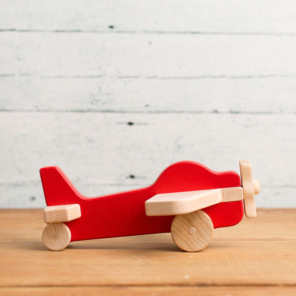 airplane wooden push toy-baby - toys-manny & simon-red-k colette