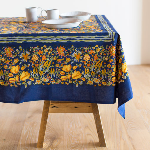 jardin tablecloth-kitchen & dining - table linens-couleur nature-navy-71x106-k colette