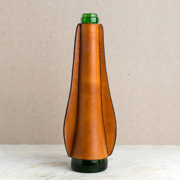 leather wrapped vase, green bottle-art & decor - decorative objects-a.b.k.-Default-k colette