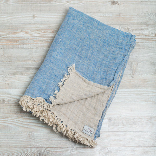 double sided linen throw