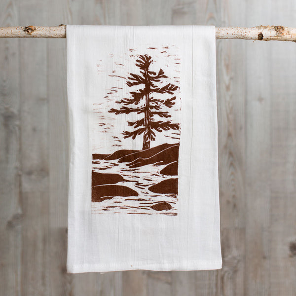 pine river wood block print tea towel-kitchen & dining - tea towels & aprons-color.joy-k colette