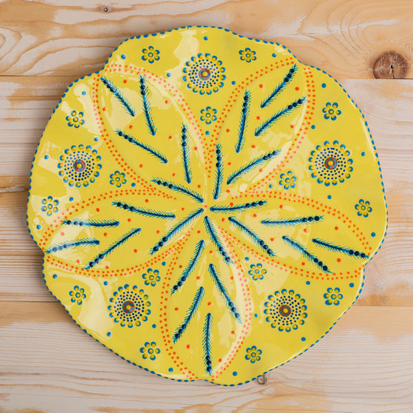 poppy platter-kitchen & dining - serveware-potterseed-white, yellow & green-k colette