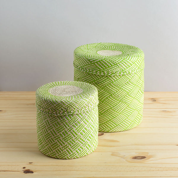 lidded africa iraca straw basket, lime green-desktop - utility & storage - art & decor - decorative objects-guanábana-medium-k colette