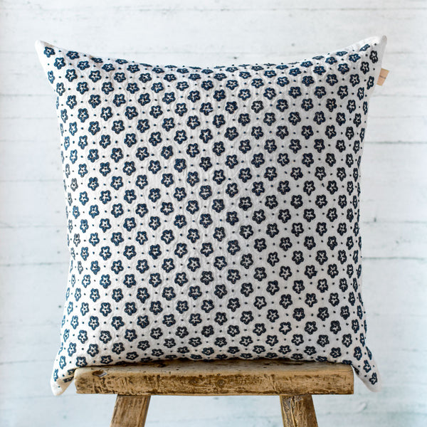indigo floret linen pillow-bed & bath - decor - pillows-taylor linens-k colette