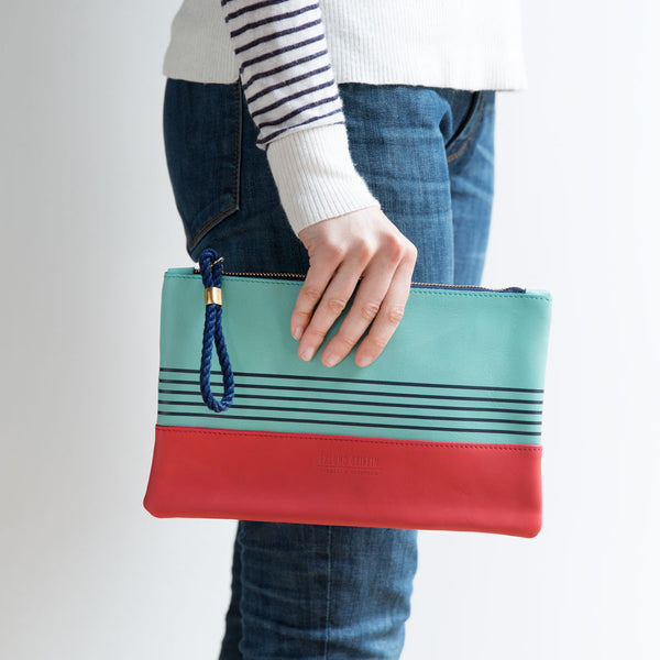 buoy block clutch, aquamarine & coral-accessories - handbags & clutches-eklund griffin-k colette
