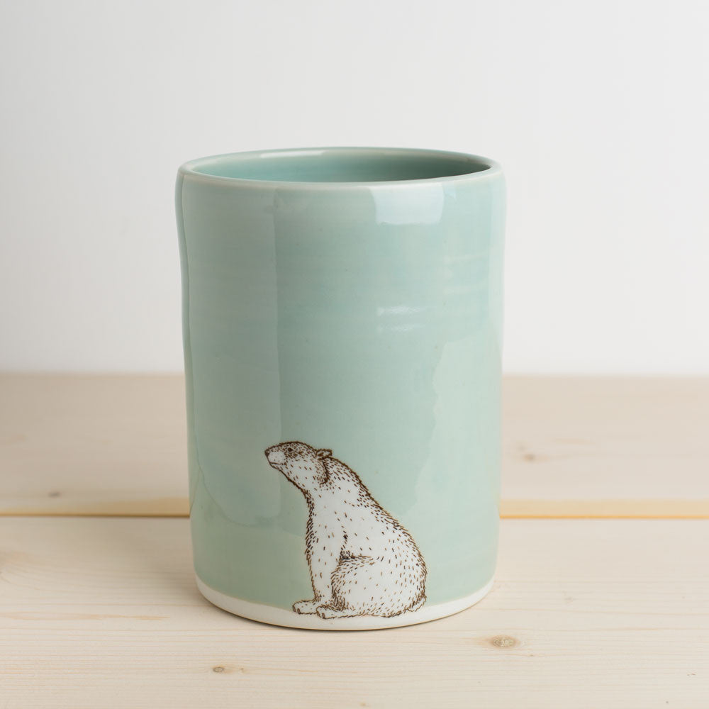 illustrated vase-art & decor - vases-skt ceramics-celadon polar bear-k colette