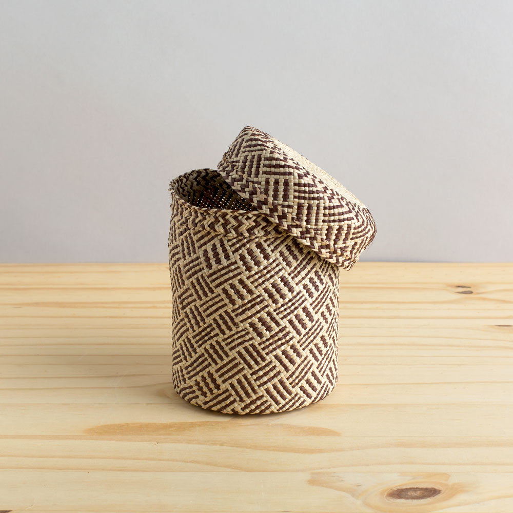 lidded africa iraca straw basket, toast-desktop - utility & storage - art & decor - decorative objects - sale-guanábana-small-k colette