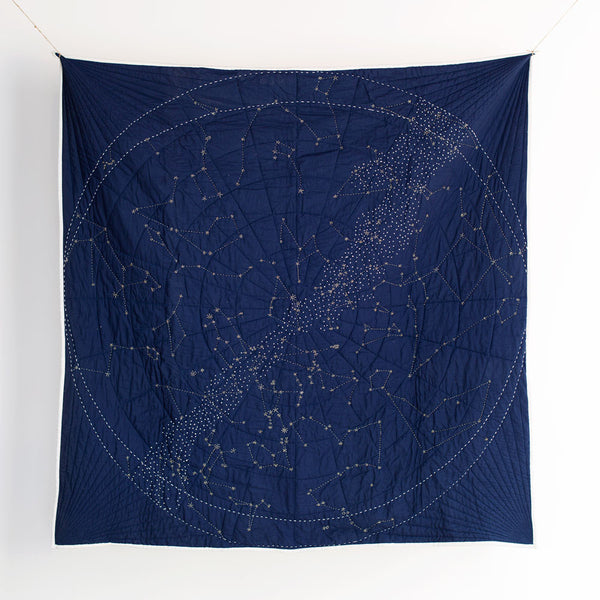 constellation quilt, navy-textiles - throws-haptic lab-k colette