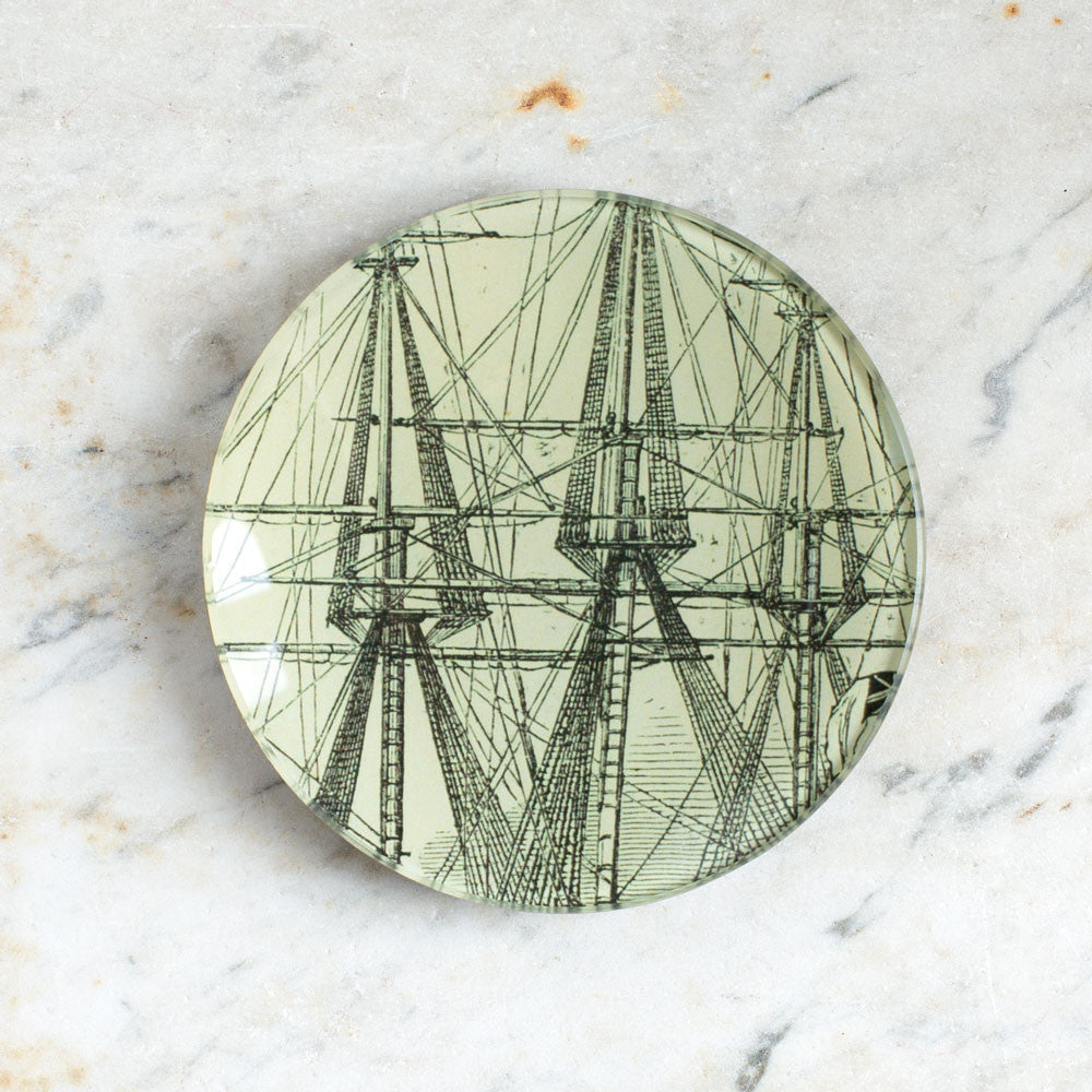 black and white sails round plate-art & decor - decoupage-john derian-k colette