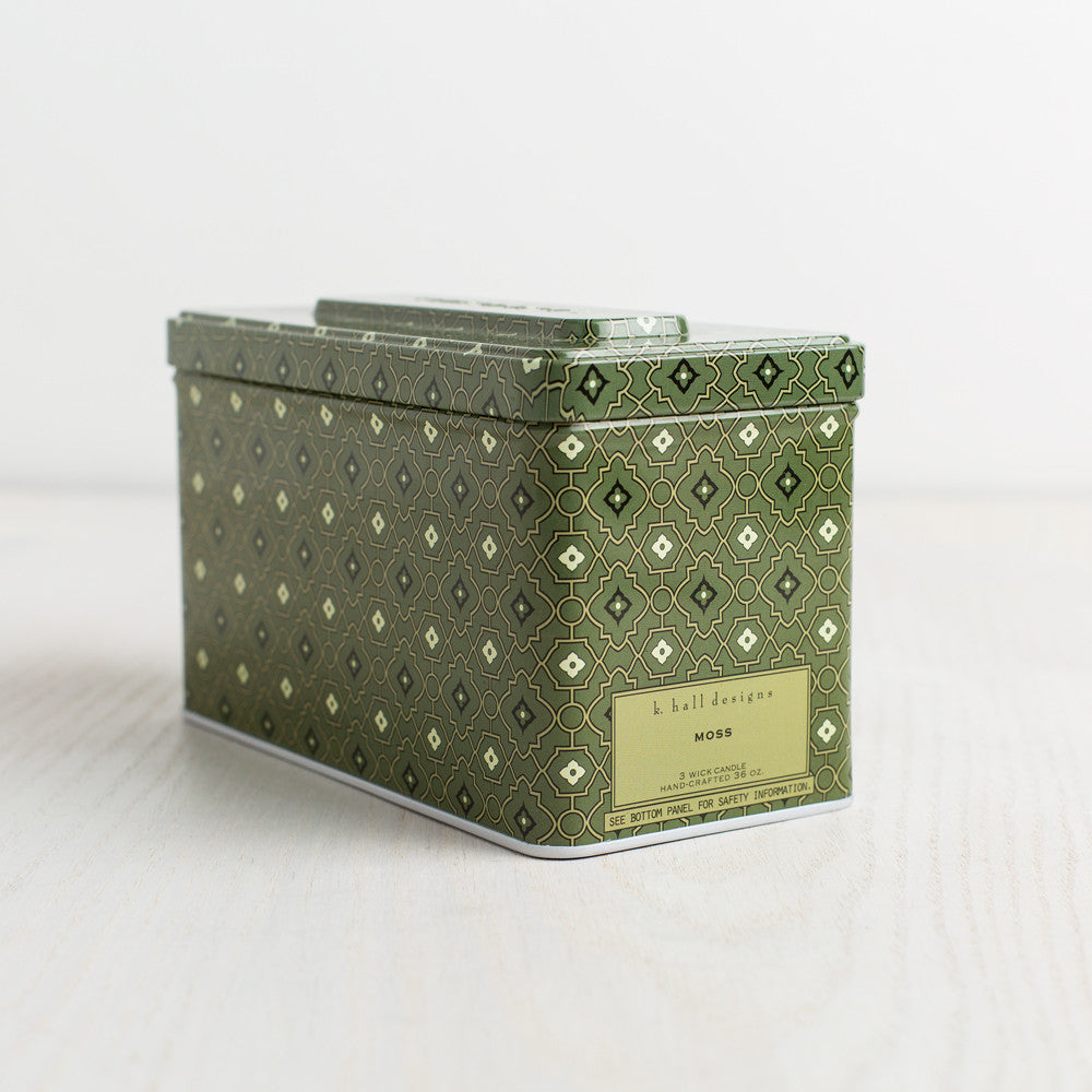 moss triple wick tin candle-candles - candles-k hall designs-k colette