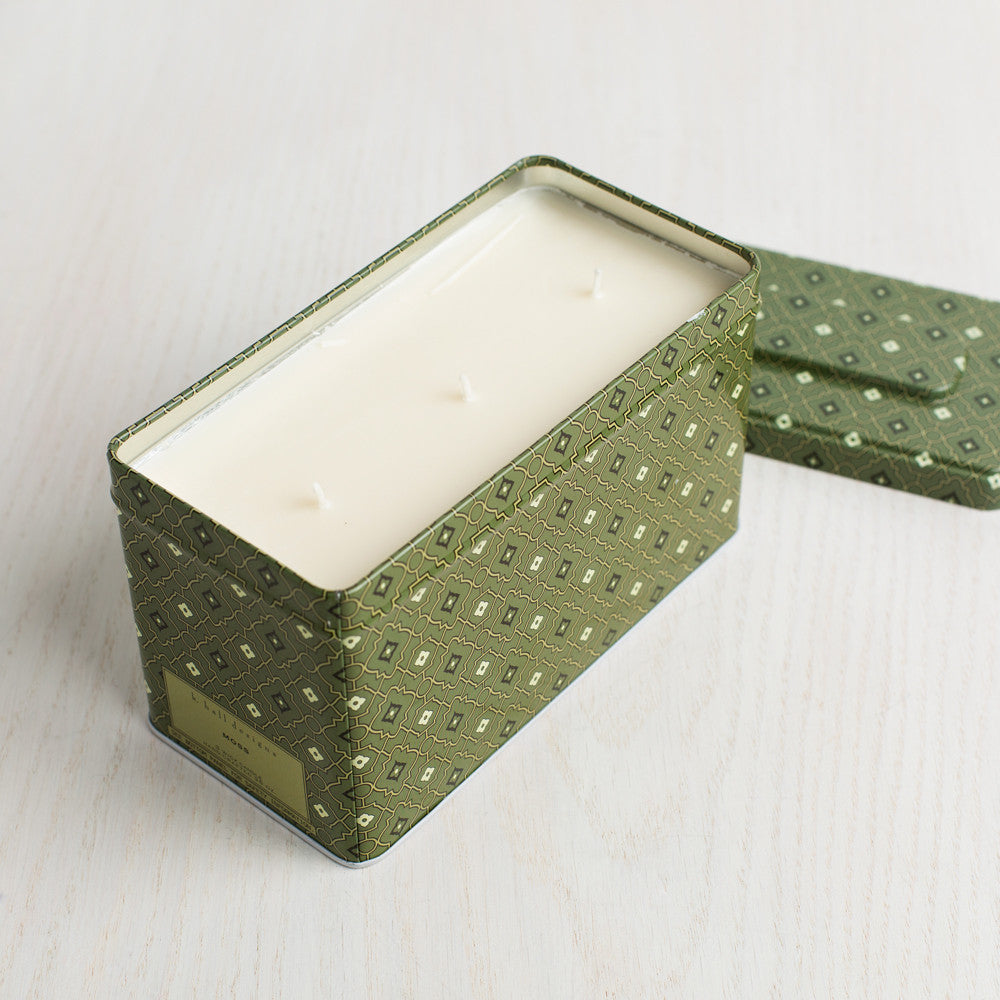 moss triple wick tin candle-art & decor - apothecary - candles - deck - holiday-k hall designs-k colette