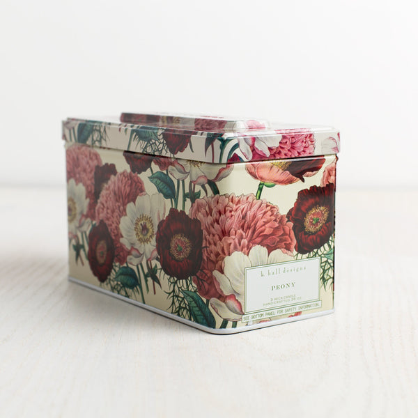 peony triple wick tin candle-candles - candles-k hall designs-k colette