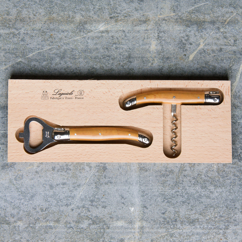 bottle opener & corkscrew set-kitchen & dining - bar & drinkware - love-laguiole-olive wood-k colette