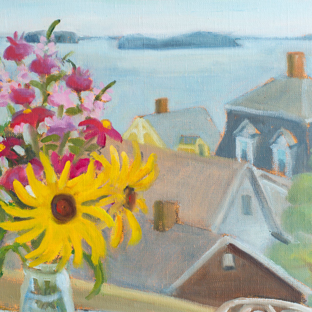bouquet and rooftops (stonington) by leslie anderson-art & decor - paintings & prints-leslie anderson-k colette