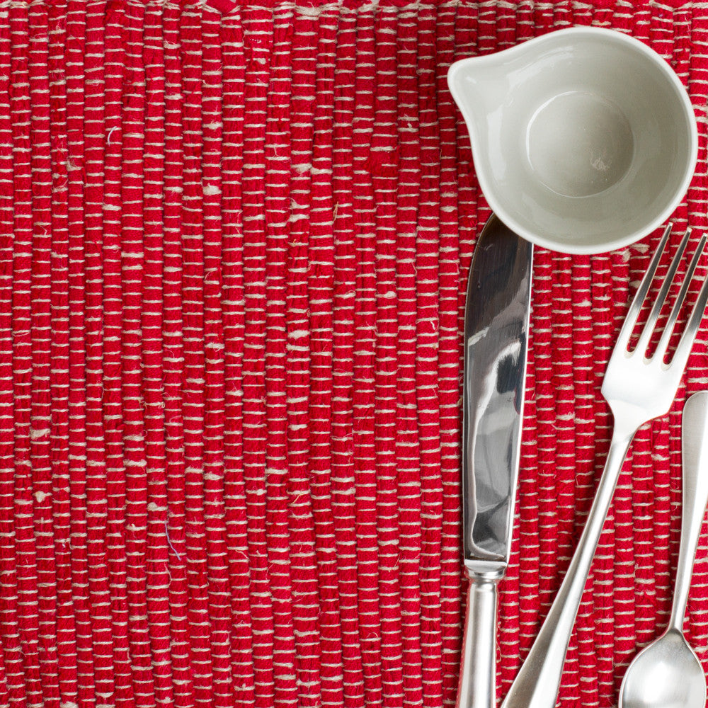 lara hand woven placemat-kitchen & dining - table linens-linenMe-red-k colette
