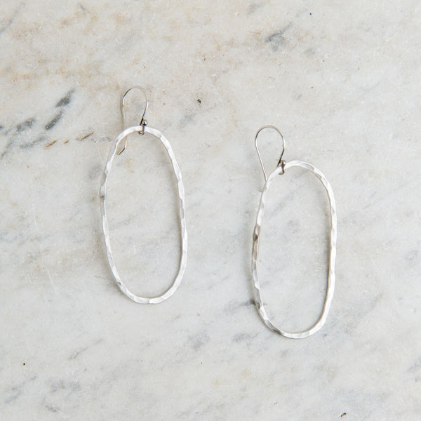 groovy hammered oval earrings-accessories - jewelry-lisa gent jewelry-Sterling Silver-k colette