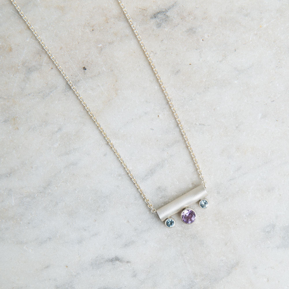 amethyst and topaz tube necklace-accessories - jewelry-lisa gent jewelry-Sterling Silver-k colette