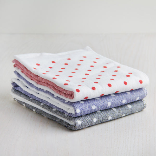polka dot chambray hand towel-apothecary - bath towels-yoshii by morihata-blue-k colette