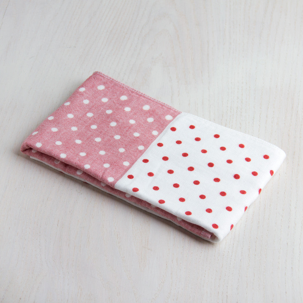 polka dot chambray hand towel-apothecary - bath towels-yoshii by morihata-red-k colette