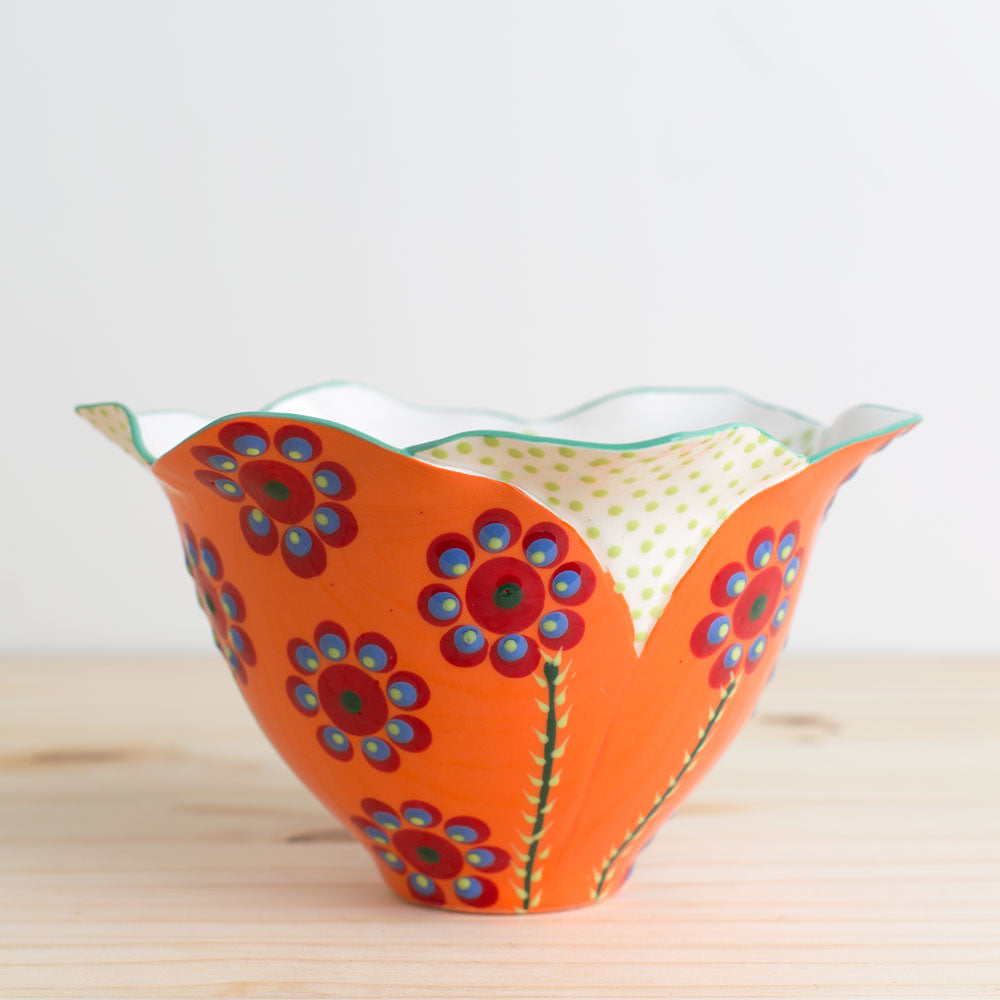 tulip bowl-kitchen & dining - dinnerware-potterseed-Orange-k colette