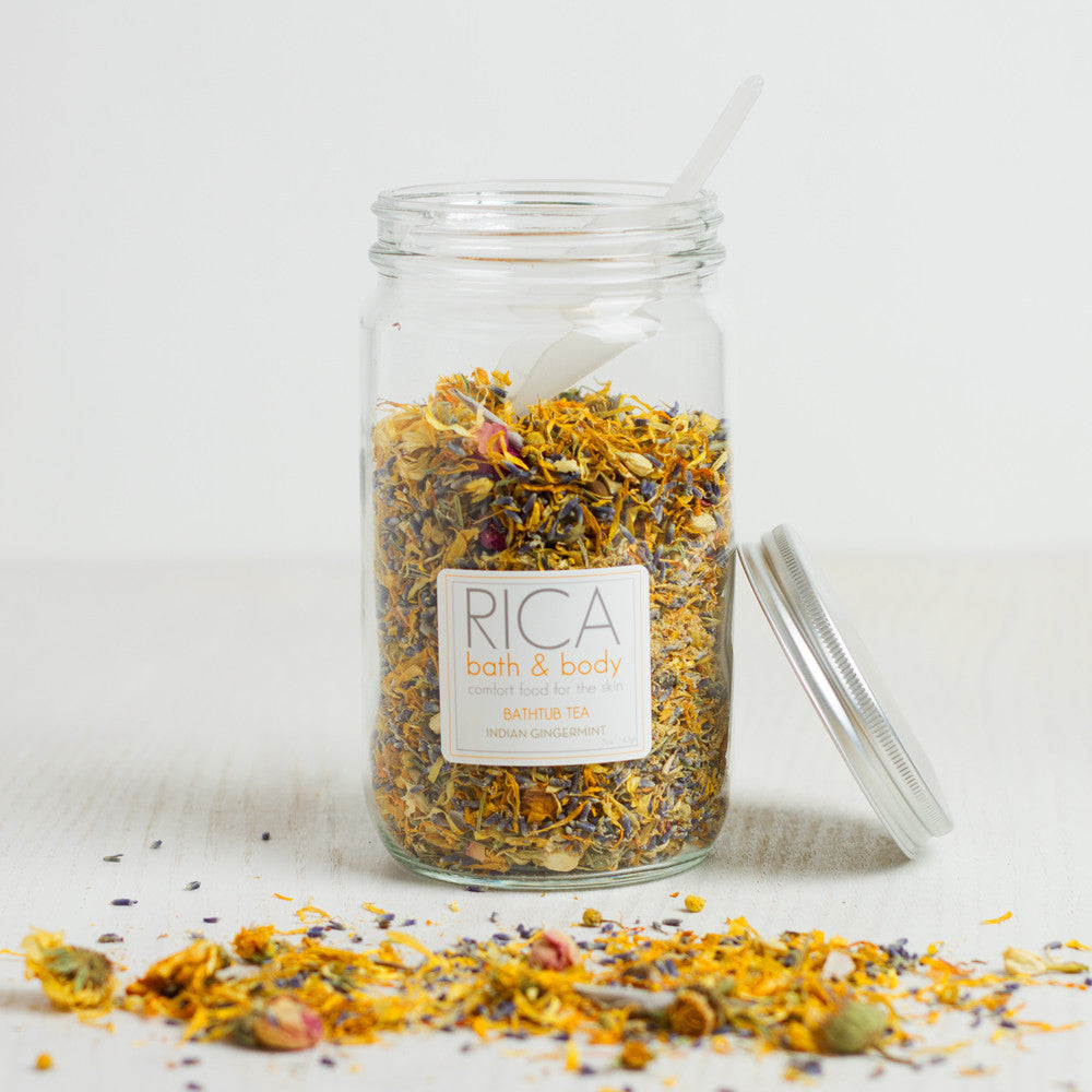 bathtub tea-apothecary - salts & scrubs-rica bath & body-Indian Gingermint-5 oz.-k colette