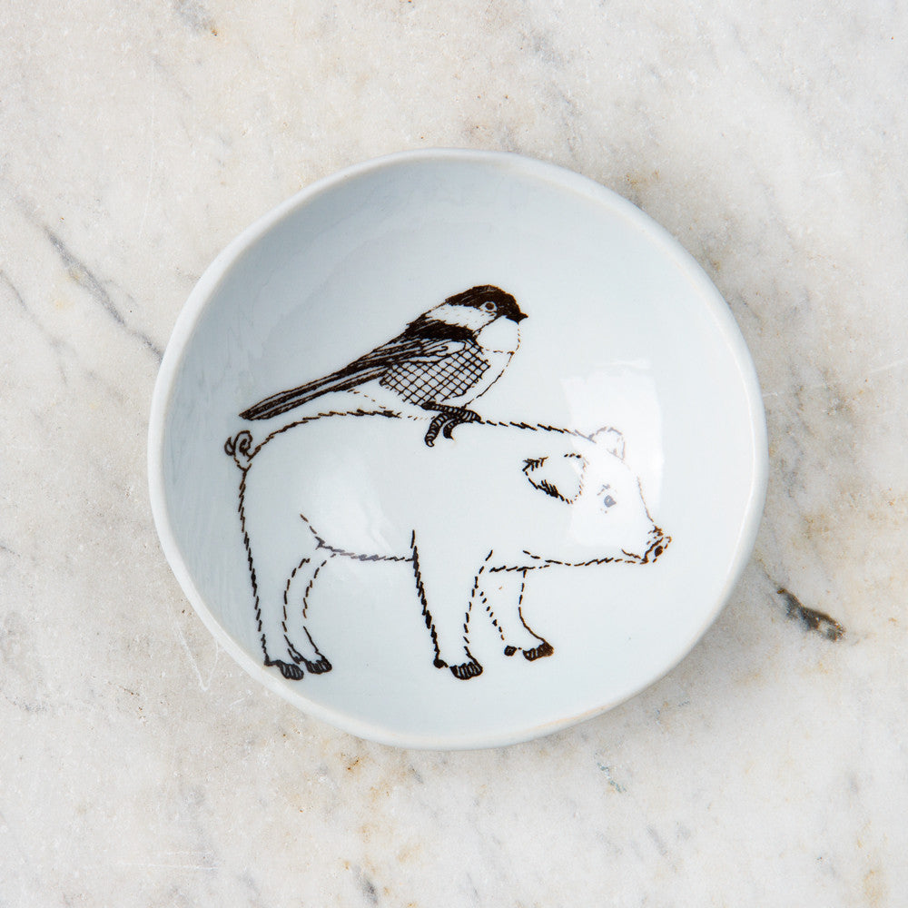 wood grain round dish-art & decor - decorative objects - kitchen & dining - serveware-skt ceramics-pig & bird-k colette