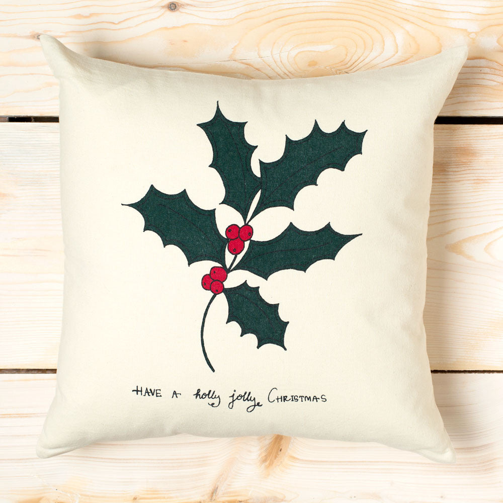 holly jolly canvas pillow-holiday - bedroom - decor - pillows-taylor linens-k colette