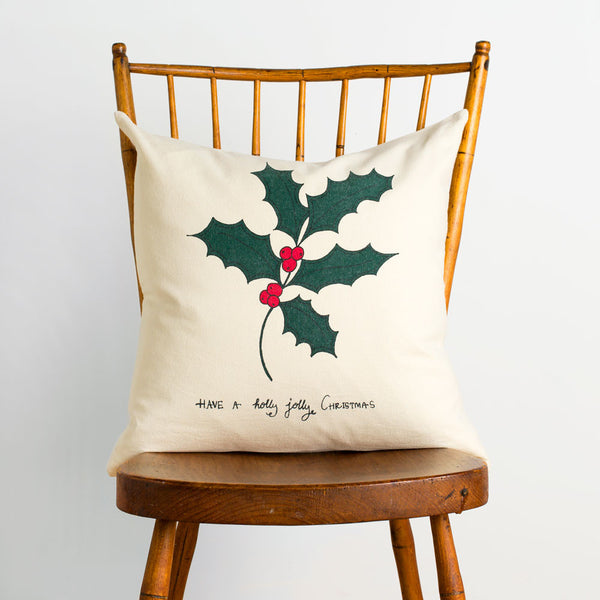 holly jolly canvas pillow-holiday - bedroom - art & decor - pillows-taylor linens-k colette