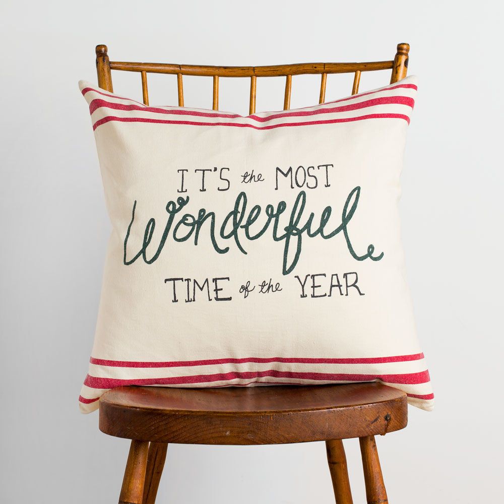 most wonderful time pillow-holiday - bedroom - art & decor - pillows-taylor linens-k colette