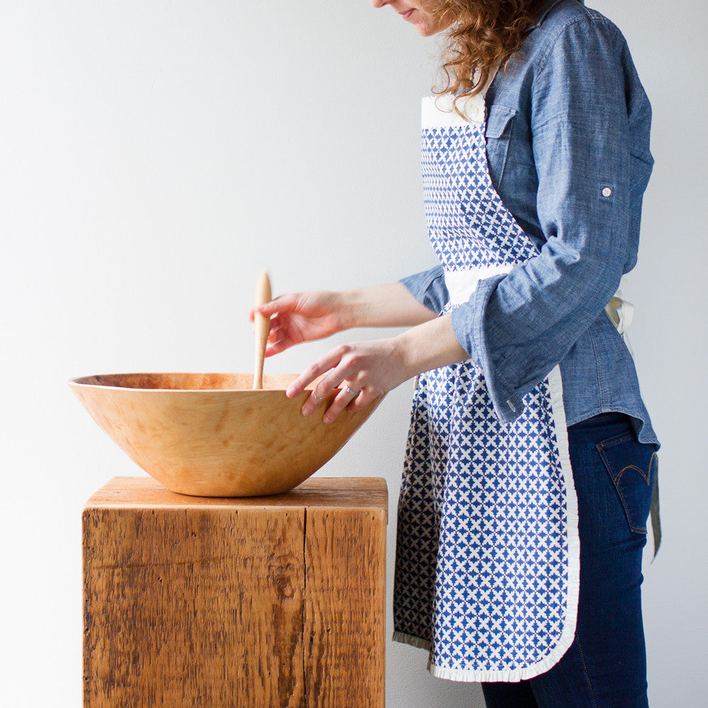 charleston apron-kitchen & dining - tea towels & aprons-taylor linens-Indigo-k colette