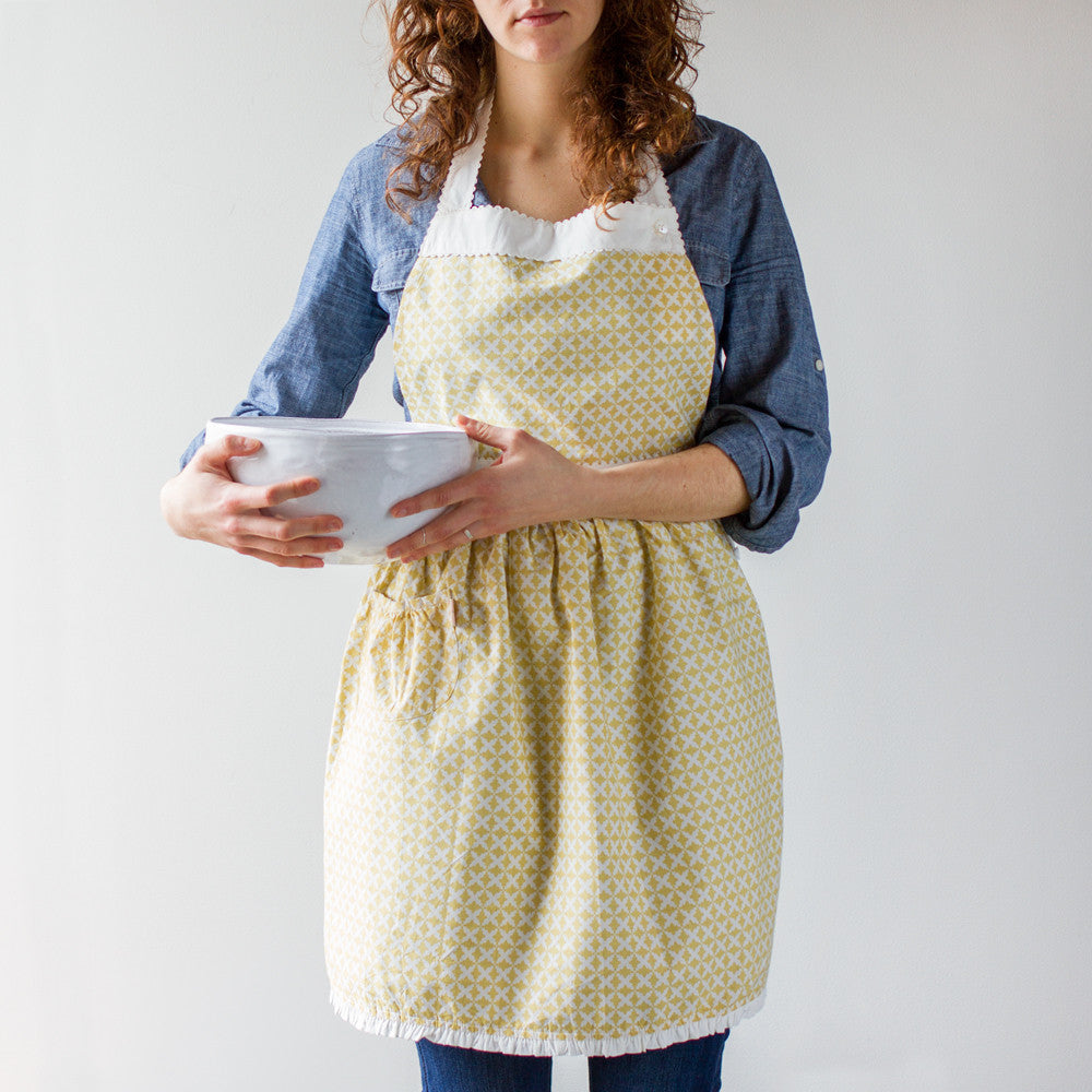 charleston apron-kitchen & dining - tea towels & aprons-taylor linens-Mustard-k colette