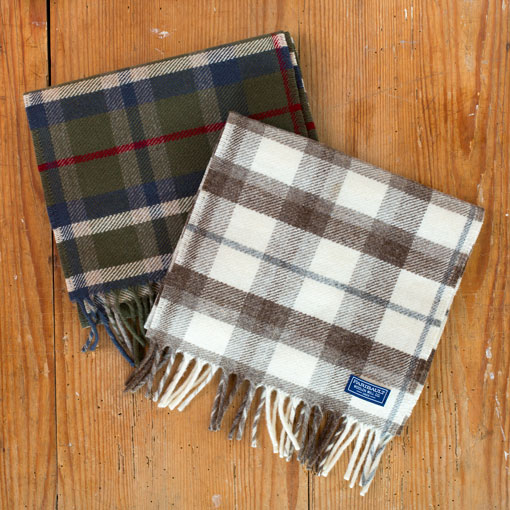 hatchet plaid wool scarf-accessories - scarves-faribault woolen mill co.-natural-k colette