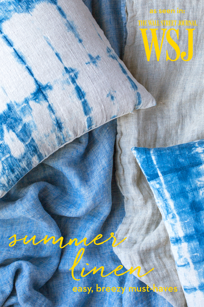 summer linen pillows and blankets from always piper - As Seen in The Wall Street Journal Off Duty