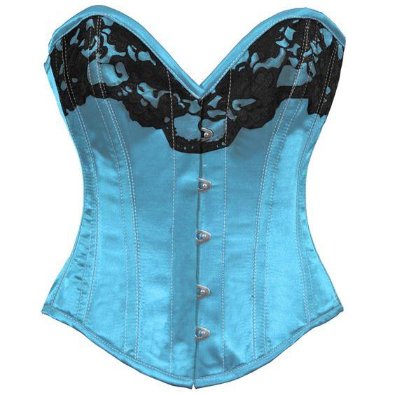 Adelaide Turquoise Satin Burlesque Overbust Corset
