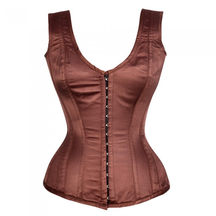 Oscar  Satin Shoulder Straps Overbust Steel Boned Corset
