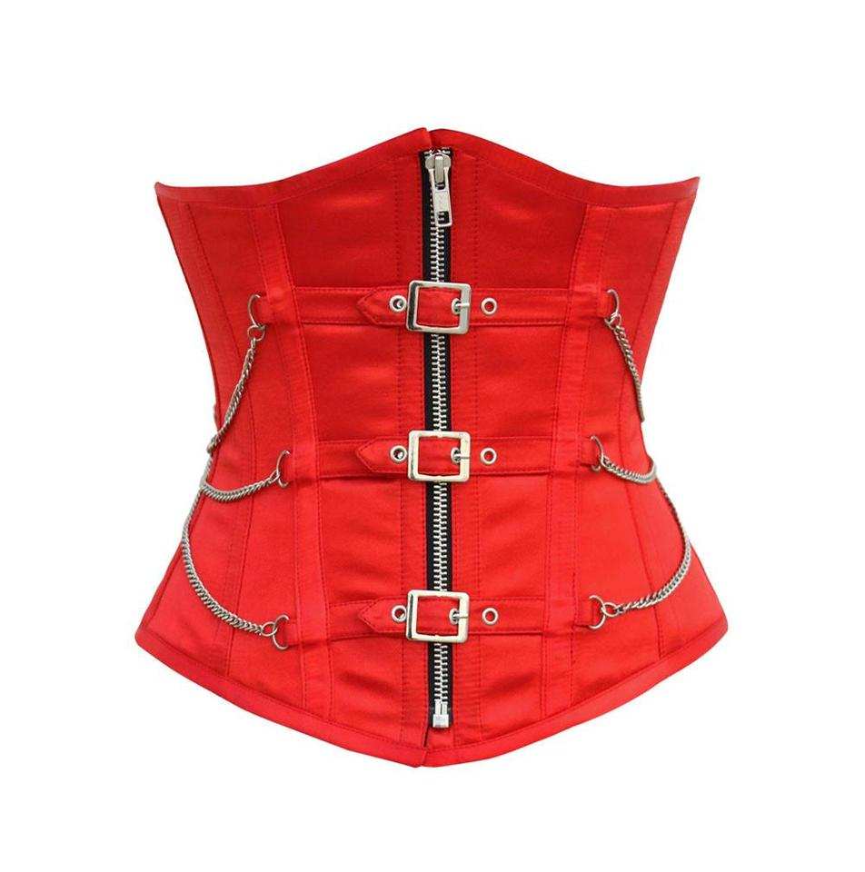 Nainsi Red Underbust Corset with Buckles