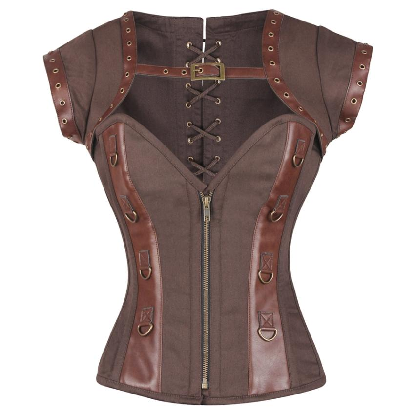Sophronia Steampunk Cotton Corset with Shrug