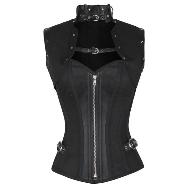 Normah Black Steampunk Cotton Corset with Shrug