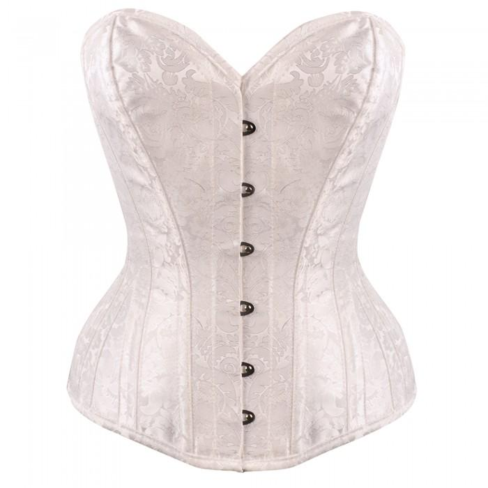 Jace White Brocade Bridal Overbust Corset
