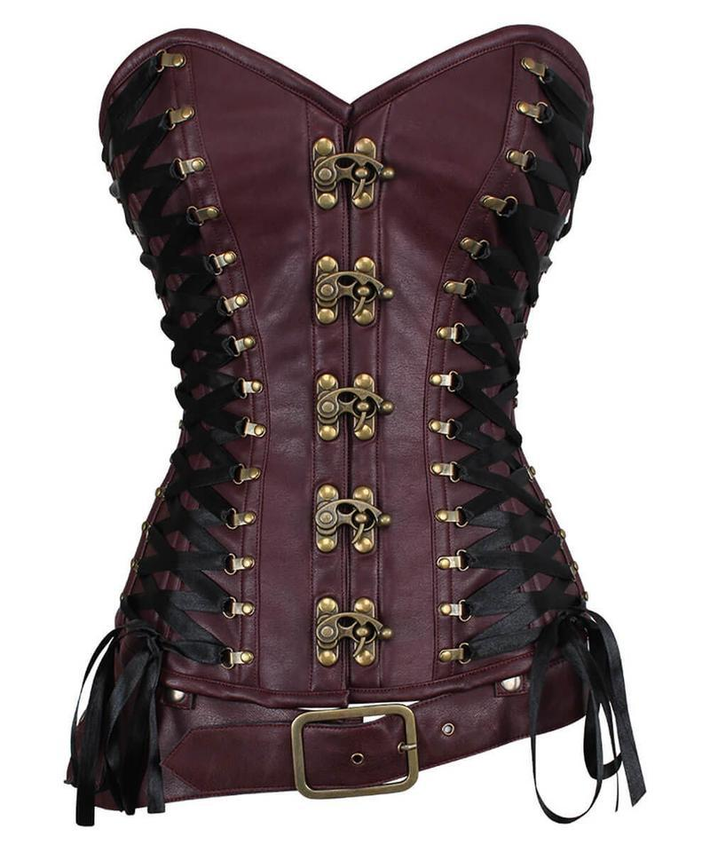 Charmaine Criss Cross Steampunk Overbust Corset with Detachable Belt