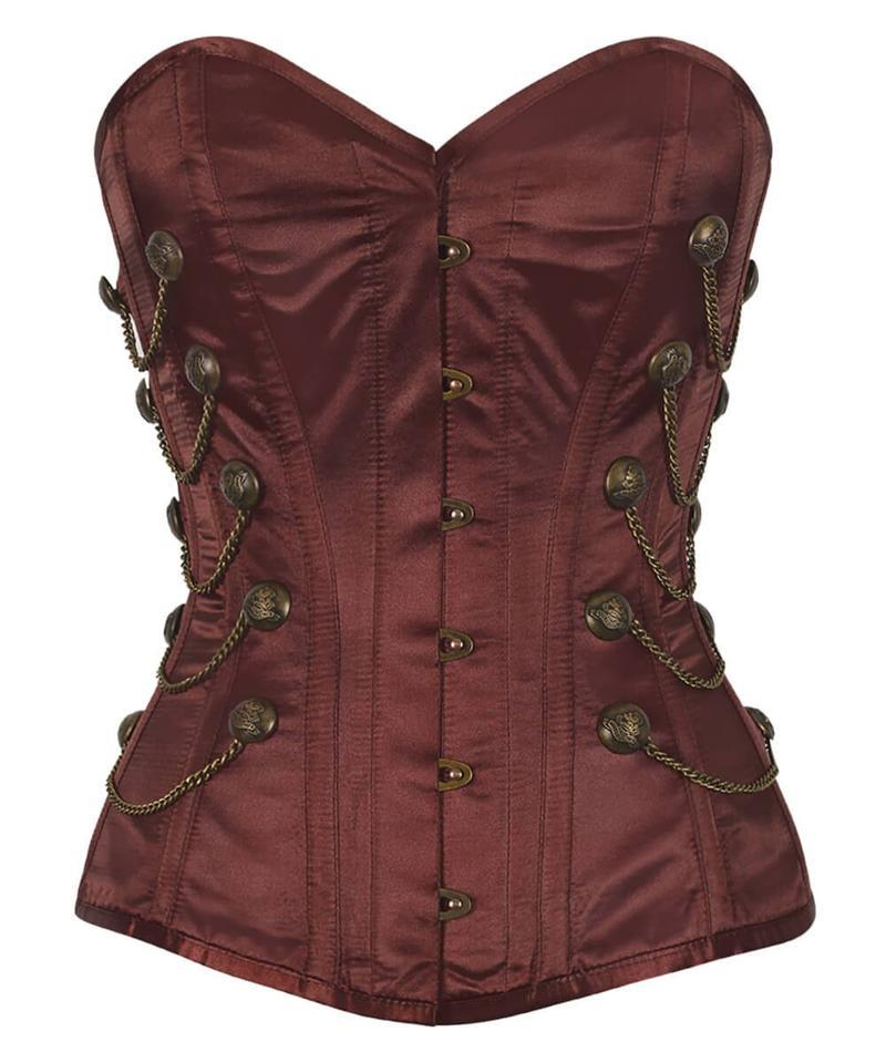 Marian Steel Boned Overbust Brown Corset with Chains