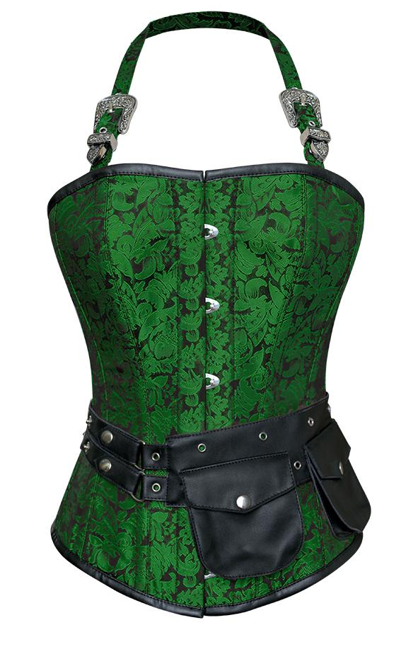 Naomie Green Corset with Strap and Faux Leather Pouch