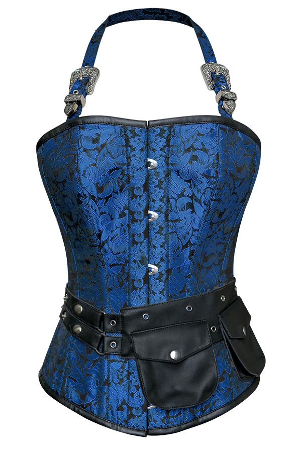 Walters Turquoise Corset with Strap and Faux Leather Pouch