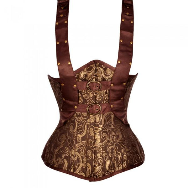 Andriani Brown And Gold Brocade Underbust With Shoulder Strap