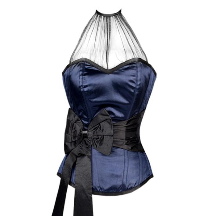 Asante Blue Overbust Corset With Black Sash