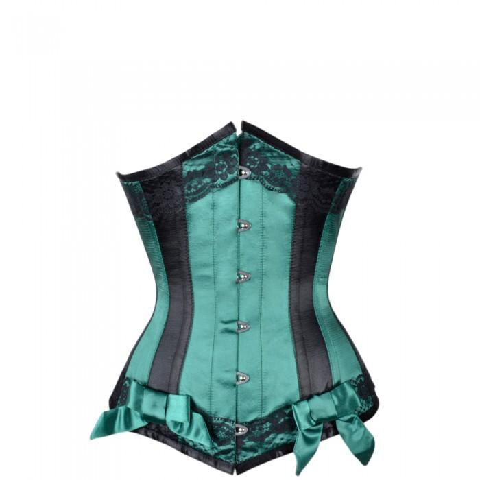 11977b5757 Lou Green Satin Underbust With Black Panels – Corsets Queen UK