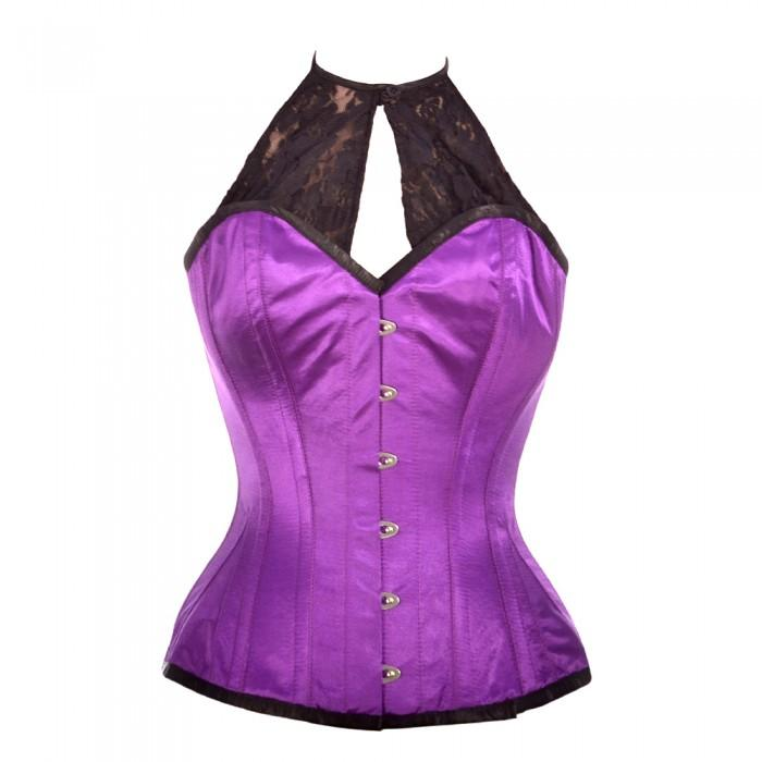 Adiilyn Purple Satin Corset with Lace Halterneck