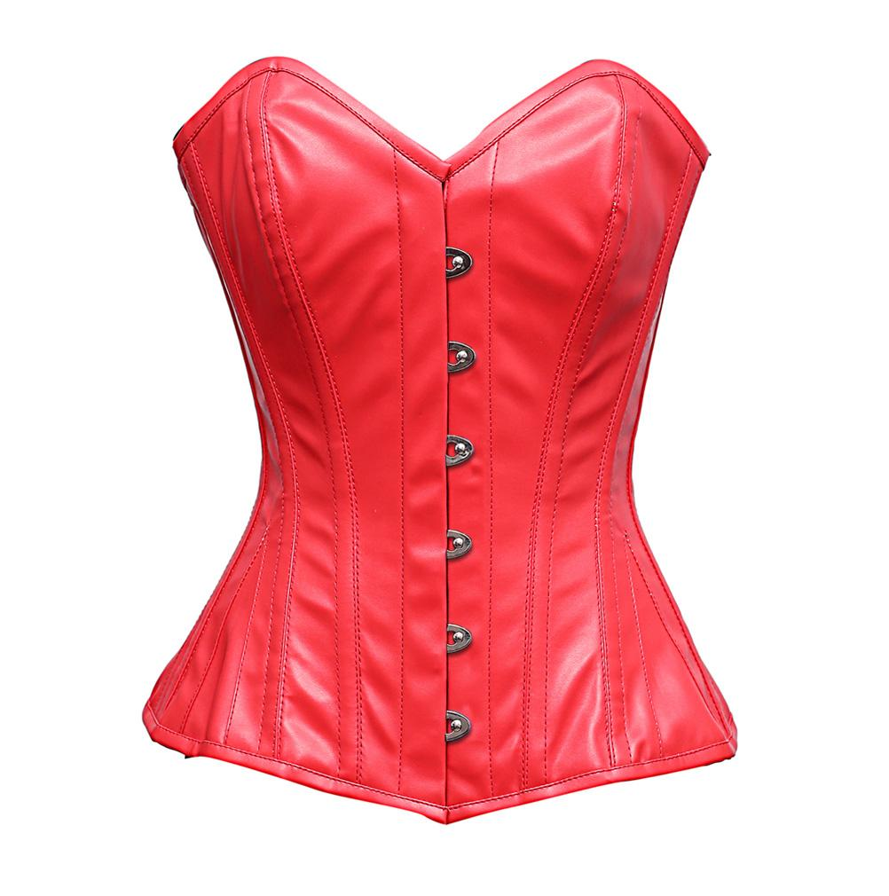 Adina Steel Bone Red Sheep Nappa Corset