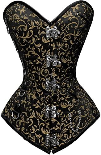 Aneta Black Gold Brocade Steel Boned Overbust Corset